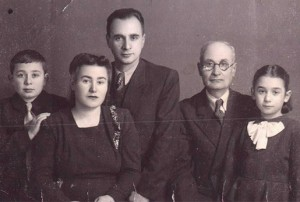 With Grandfather, parents and sister. Tabriz, 1948.